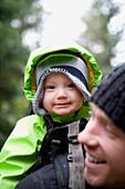 Father and son hiking, Losa Lake Trail Whistler, British Columbia