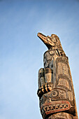 West coast First Nation carvings and designs, Fort Rupert, Vancouver Island, British Columbia