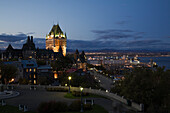Chateau Frontenac and Dufferin terrace at dusk, Quebec City, Quebec