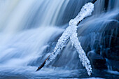 Icy branch and waterfall, Millers Lake, Nova Scotia