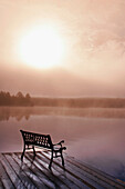 Dock in Morning Fog, Oxtongue Lake, Dwight, Ontario, CANADA