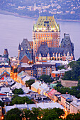 Aerial View of Chateau Frontenac, Surrounding Rooftops and St. Lawrence River at Twilight, Quebec City