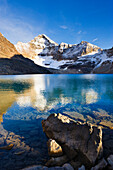 Lake McArthur and Mount Biddle at sunset, Yoho National Park, British Columbia