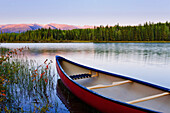 Artist's Choice: Canoe and Boya Lake at sunset, Boya Lake Provincial Park, Northern British Columbia