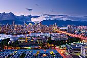Artist's Choice: City skyline at dusk, Vancouver, British Columbia