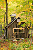 Sugar Cabin in Autumn, Kamouraska Village, Bas-Saint-Laurent Region, Quebec