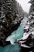 Numa Falls with snow, Kootenay National Park, British Columbia, Canada