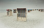 Germany, Schleswig-Holstein, Baltic sea coast, Laboe, strandkorb - special chair designed to provide comfort and protection on the beach