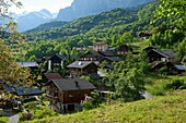 France, Haute-Savoie (74), Servoz mountain village with quaint cottages, the Mont Blanc