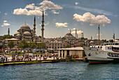Republic of Turkey, Istanbul, The New Mosque and the Süleymaniye Mosque, view from the harbour