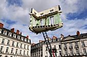 'France, Pays de la Loire, Nantes, Place du Bouffay, ''A journey to Nantes'', Summer 2012, Monte-Meubles l'Ultime Déménagement'' by Léandro Erlich'