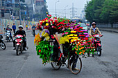 Selling flowers from her bicycle in Hanoi, North Vietnam, , Vietnam, South East Asia, Asia
