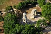 France, Bouches-du-Rhone (13), the Antiques of Saint-Rémy-de-Provence, the Arc de Triomphe and Glanum The mausoleum classes Historic Monuments (aerial photo)