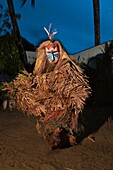 'Africa, Gabon, Estuaire region, Libreville capital, La Sablière, Bwiti ceremonies, the Mboma na ditsuala spirit (''python with feathers'') shows rarely to humans, here the body is only a support to the spirit showing up during the ceremony'