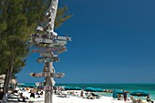 MULTI CITY AMERICAN DESTINATION SIGNPOST FORT ZACHARY TAYLOR STATE PARK BEACH KEY WEST FLORIDA USA
