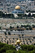 RUSSIAN ORTHODOX CHURCH DOMES AND DOME OF THE ROCK TEMPLE MOUNT OLD CITY JERUSALEM ISRAEL