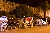 SIGHTSEEING EXCURSION TOUR HORSE CARRIAGES SOUTH WALL OF ALAMO SAN ANTONIO TEXAS USA