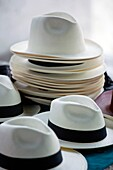 STACK OF PANAMA HATS PANAMA CITY REPUBLIC OF PANAMA