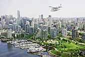 Cessna Caravan Amphibian Seaplane On Approach To The Vancouver Harbour Water Airport, Vancouver British Columbia Canada