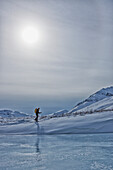 A cross-country skier in the klondike valley of tombstone territorial park, yukon canada