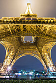 Eiffel Tower At Night, Low Angle View, Paris, France