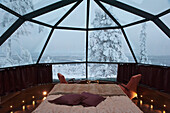 Glass Roofed Igloo Accommodation With A Motorized Rotating Bed At Uitsuvaara Region, Levi, Lapland, Finland