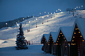 Floodlit Ski Slopes At Levi, Lapland, Finland