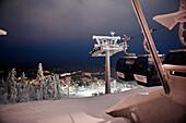 Floodlit Scene Of The Ski Slope And Resort Of Levi, Lapland, Finland