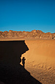 Shadow Of A Person On Desert, Wadi Rum, Jordan, Middle East