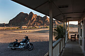 Motorbikes Outside The Big Bend Resort And Adventures Hotel, Route 118 At Route 170, Terlingua, Big Bend, Texas, Usa