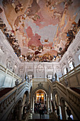 Staircase with fresco, Wuerzburger Residence, Wuerzburg, Franconia, Bavaria, Germany