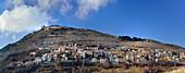 Panorama with view to Calascio and castle, Rocca Calascio, Calascio, Abruzzi, Apennines, l' Aquila, Italy