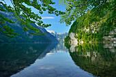 Lake Koenigssee with Steinernes Meer and Schoenfeldspitze, lake Koenigssee, Berchtesgaden range, National Park Berchtesgaden, Berchtesgaden, Upper Bavaria, Bavaria, Germany