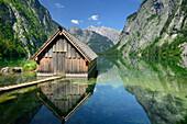 Boathouse at lake Obersee with Hachelkoepfe and Watzmann, lake Obersee, lake Koenigssee, Berchtesgaden range, National Park Berchtesgaden, Berchtesgaden, Upper Bavaria, Bavaria, Germany