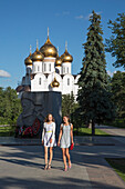 Two women in front of Yaroslavl Assumption Cathedral, Yaroslavl, Russia, Europe