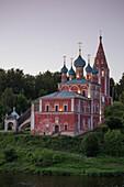 Kazan Church of the Transfiguration alongside Volga river at dusk, Tutayev, near Yaroslavl, Russia, Europe