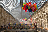 Interior of GUM department store and shopping arcade along Red Square, Moscow, Russia, Europe