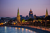 Moskva river and illuminated Kremlin buildings at dusk, Moscow, Russia, Europe