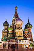 St. Basil's Cathedral on Red Square at dusk, Moscow, Russia, Europe