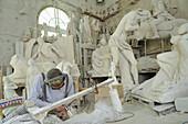 Marble sculptures in Workshop Studi di Scultura Nicoli, Carrara, Tuscany, Italy