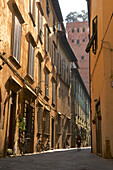 Narrow lane in the morning light with Torre Guinigi in Lucca, Tuscany, Italy