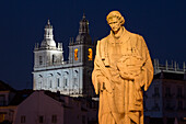 Statue of Sao Vicente near Miradouro de Santa Luzia in Alfama district at night, Lisbon, Lisboa, Portugal