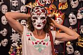 Woman with carnival mask in Ca' Macana, Venice, Veneto, Italy, Europe