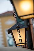 Hotel Galleria lamp sign near Ponte dell' Accademia bridge, Venice, Veneto, Italy, Europe