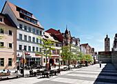 Johannis Street with parish church of St. Michael, Jena, Thuringia, Germany