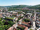 View from Jentower, Thuringian University and Regional Library Jena with parish church of St. Michael, Jena, Thuringia, Germany