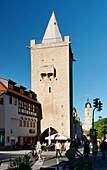 Johannisstrasse with Johannistor gate and parish church of St. Michael, Jena, Thuringia, Germany