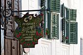 Guest house sign in Rimetea, Alba, Transylvania, Romania