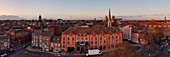 Panorama of the old town with church of All Saints and the York Minster in the evening, York, England, United Kingdom