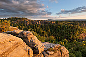 Carola rocks in evening light, National Park Saxon Switzerland, Saxony, Germany